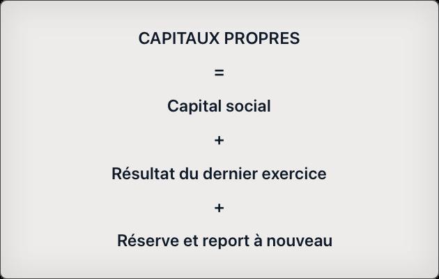 capitaux propres = capital social + résultat dernier exercice + réserve + report à nouveau